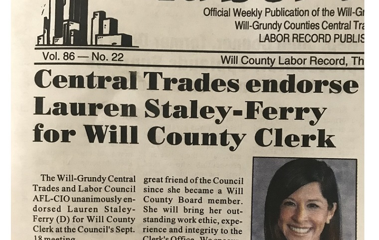 Central Trades ENDORSE LAUREN STALEY-FERRY for Will County Clerk
